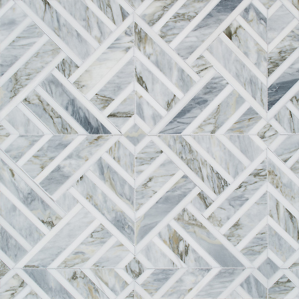 Delaunay, a hand-cut stone mosaic, shown in honed Cirrus and polished Dolomite, is part of the Palazzo™ collection by New Ravenna.