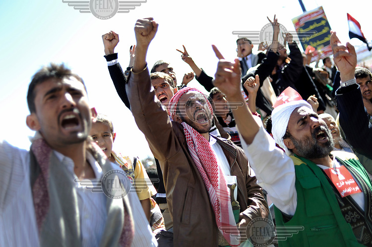 Anti-President Saleh protestors shout slogans as they march on 60th Street. The 33 year rule of authoritarian president, Ali Abdullah Saleh, efinished at the end of 2011 when he agreed to step down from power. However, the country remained unstable and an al Qaeda insurgency continued in the southfinished at the end of 2011 when he agreed to step down from power. However, the country remained unstable and an al Qaeda insurgency continued in the south.