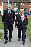 © Joel Goodman - 07973 332324 . 03/02/2014 . Manchester , UK . L-R Hilary Benn and Mike Kane arrive for the meeting . Hilary Benn , MP for Leeds Central and Shadow Community Secretary for the Labour Party , joins Labour candidate Mike Kane on the campaign trail ahead of the Wythenshawe and Sale East by-election , following the death of MP Paul Goggins . The pair speak to local pensioners about communities and housing . Photo credit : Joel Goodman