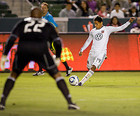 DC United forward Andy Najar looks to cross the ball over the middle as Chivas USA goalkeeper Zach Thornton looks on. CD Chivas USA beat DC United 1-0 at Home Depot Center stadium in Carson, California on Sunday August 29, 2010.