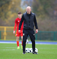 16th November 2019; Leckwith Stadium, Cardiff, Glamorgan, Wales; European Championship Under 19 2020 Qualifiers, Russia under 19s versus Wales under 19s; Robert Edwards, Coach of Wales Under 19 watches as his players warm up - Editorial Use