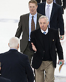 Jeff Jackson (ND - Head Coach), Greg Brown (BC - Associate Head Coach), Jerry York (BC - Head Coach) - The Boston College Eagles defeated the visiting University of Notre Dame Fighting Irish 4-2 to tie their Hockey East quarterfinal matchup at one game each on Saturday, March 15, 2014, at Kelley Rink in Conte Forum in Chestnut Hill, Massachusetts.