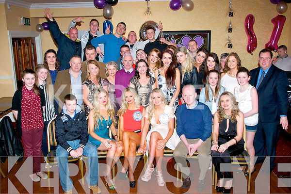 Sharon and Adrienne McEllistrim from Castleisland (seated 3rd and 4th left) celebrated their 21st and 18th birthdays respectively last Saturday night in the Crown hotel bar, Castleisland along with many friends and family.