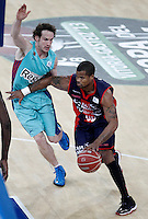 Caja Laboral Baskonia's Omar Cook (r) and FC Barcelona Regal's Marcelinho Huertas during Spanish Basketball King's Cup semifinal match.February 07,2013. (ALTERPHOTOS/Acero) /NortePhoto