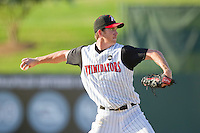Starting pitcher Matt Heidenreich #51 of the Kannapolis Intimidators makes a pick-off throw to first base against the Lakewood BlueClaws at Fieldcrest Cannon Stadium on July 17, 2011 in Kannapolis, North Carolina.  The BlueClaws defeated the Intimidators 4-3.   (Brian Westerholt / Four Seam Images)