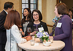Josephine Esteban, center, wife of DePaul President A. Gabriel Esteban, Ph.D., talks with DePaul trustee Renee Togher, left, and Kate Bensen during a reception Thursday, July 20, 2017, at The Chicago Club. The event was organized to welcome the Estebans to Chicago and introduce them to some of Chicago&rsquo;s most influential women. <br /> (DePaul University/Jamie Moncrief)