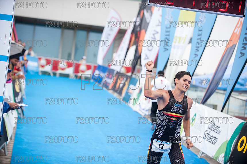 VALENCIA, SPAIN - SEPTEMBER 6: Arnaud Sonnery during Valencia Triathlon 2015 at port of Valencia on September 6, 2015 in Valencia, Spain
