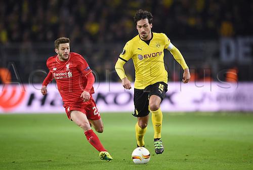 07.04.2016. Dortmund, Germany. Europa League quarterfinal. Borussia Dortmund versus Liverpool FC at the Signal Iduna Park Dortmund.  Adam LALLANA (LIV beaten by Mats Hummels (DOR)