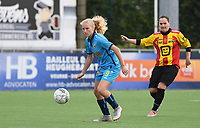 20191005  -  Diksmuide , BELGIUM :  FWDM's Celine Leeman  pictured with KV Mechelen's Lore Torfs during a footballgame between the womensoccer teams from Famkes Westhoek Diksmuide Merkem and KV Mechelen Ladies A , on the 5th matchday in the first division , 1e nationale , in Diksmuide - Belgium - saturday 5th october 2019 . PHOTO DAVID CATRY   Sportpix.be