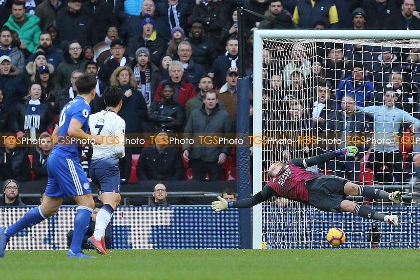 Christian Eriksen of Tottenham Hotspur (out of picture) scores the second goal during Tottenham Hotspur vs Leicester City, Premier League Football at Wembley Stadium on 10th February 2019