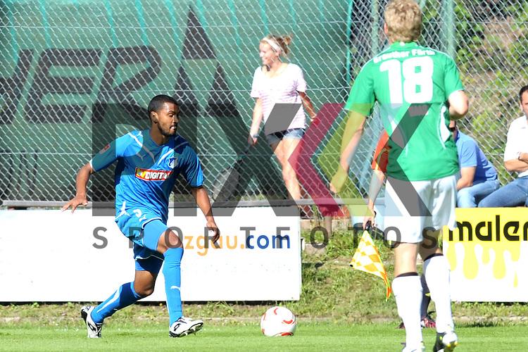 Leogang &Ouml;sterreich 31.07.2010, 1.Fu&szlig;ball Bundesliga Testspiel TSG 1899 Hoffenheim - Greuther F&uuml;rth, Hoffenheims Marvin Compper davor der F&uuml;rther Leonard Haas<br /> <br /> Foto &copy; Rhein-Neckar-Picture *** Foto ist honorarpflichtig! *** Auf Anfrage in h&ouml;herer Qualit&auml;t/Aufl&ouml;sung. Belegexemplar erbeten. Ver&ouml;ffentlichung ausschliesslich f&uuml;r journalistisch-publizistische Zwecke.