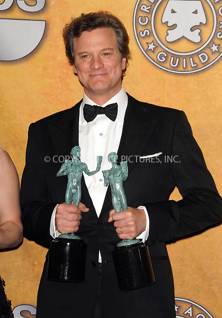 WWW.ACEPIXS.COM . . . . . ....January 30 2011, Los Angeles....Actor Colin Firth in the press room at the 17th Annual Screen Actors Guild Awards at The Shrine Auditorium on January 30, 2011 in Los Angeles, CA....Please byline: PETER WEST - ACEPIXS.COM....Ace Pictures, Inc:  ..(212) 243-8787 or (646) 679 0430..e-mail: picturedesk@acepixs.com..web: http://www.acepixs.com