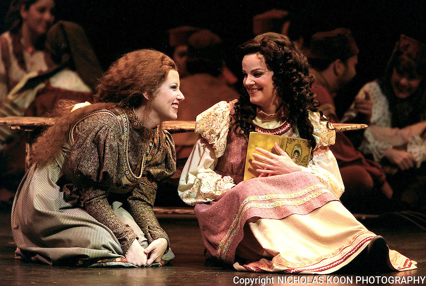 2002 - EUGENE ONEGIN - The two sisters Olga (Left-Elizabeth Batton) and Tatyana (Right-Mary Mills) share a laugh in Opera Pacific's production of Eugene Onegin.