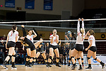 GRAND RAPIDS, MI - NOVEMBER 18: Wittenberg University players celebrate after scoring a point during the Division III Women's Volleyball Championship held at Van Noord Arena on November 18, 2017 in Grand Rapids, Michigan. Claremont-M-S defeated Wittenberg 3-0 to win the National Championship. (Photo by Doug Stroud/NCAA Photos via Getty Images)