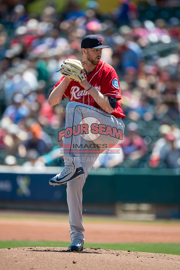Tacoma Rainiers starting pitcher Max Povse (36) prepares to deliver a pitch during a Pacific Coast League against the Sacramento RiverCats at Raley Field on May 15, 2018 in Sacramento, California. Tacoma defeated Sacramento 8-5. (Zachary Lucy/Four Seam Images)