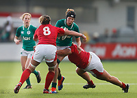 9th February 2020; Energia Park, Dublin, Leinster, Ireland; International Womens Rugby, Six Nations, Ireland versus Wales; Aoife McDermott of Ireland is tackled by Siwan Lillicrap (c) and Gwenllian Pyrs of Wales