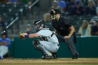 Winston-Salem Dash catcher Winston-Salem Dash Evan Skoug (19) frames a pitch as home plate umpire Jake Bruner looks on during the game against the Myrtle Beach Pelicans at TicketReturn.com Field on May 16, 2019 in Myrtle Beach, South Carolina. The Dash defeated the Pelicans 6-0. (Brian Westerholt/Four Seam Images)