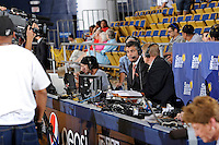 21 January 2012:  FIU Athletic Director Pete Garcia is interviewed during half-time as part of the telecast of the game as the Florida Atlantic University Owls defeated the FIU Golden Panthers, 50-49, at the U.S. Century Bank Arena in Miami, Florida.