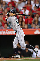Ichiro Suzuki #51of the Seattle Mariners bats against the Los Angeles Angels at Angel Stadium on June 5, 2012 in Anaheim,California. Los Angeles defeated Seattle 6-1.(Larry Goren/Four Seam Images)