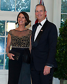Michael Wirth and Julie Wirth arrives for the State Dinner hosted by United States President Donald J. Trump and First lady Melania Trump in honor of Prime Minister Scott Morrison of Australia and his wife, Jenny Morrison, at the White House in Washington, DC on Friday, September 20, 2019.<br /> Credit: Ron Sachs / Pool via CNP