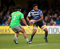 Bath Rugby's Levi Douglas in action during todays match<br /> <br /> Photographer Bob Bradford/CameraSport<br /> <br /> Premiership Rugby Cup Round 1 - Bath Rugby v Harlequins - Saturday 27th October 2018 - The Recreation Ground - Bath<br /> <br /> World Copyright © 2018 CameraSport. All rights reserved. 43 Linden Ave. Countesthorpe. Leicester. England. LE8 5PG - Tel: +44 (0) 116 277 4147 - admin@camerasport.com - www.camerasport.com