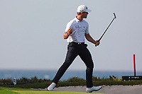 Brandon Stone (RSA) celebrates after making a birdie on the 18th to go to -13 during Round 4 of the Oman Open 2020 at the Al Mouj Golf Club, Muscat, Oman . 01/03/2020<br /> Picture: Golffile | Thos Caffrey<br /> <br /> <br /> All photo usage must carry mandatory copyright credit (© Golffile | Thos Caffrey)