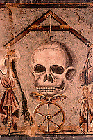 Roman Art:  Mosaic--Skull.  National Museum, Naples.