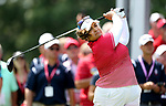 DES MOINES, IA - AUGUST 18: USA's Lizette Salas hits her tee shot on the 1st hole during her afternoon match at the 2017 Solheim Cup in Des Moines, IA. (Photo by Dave Eggen/Inertia)