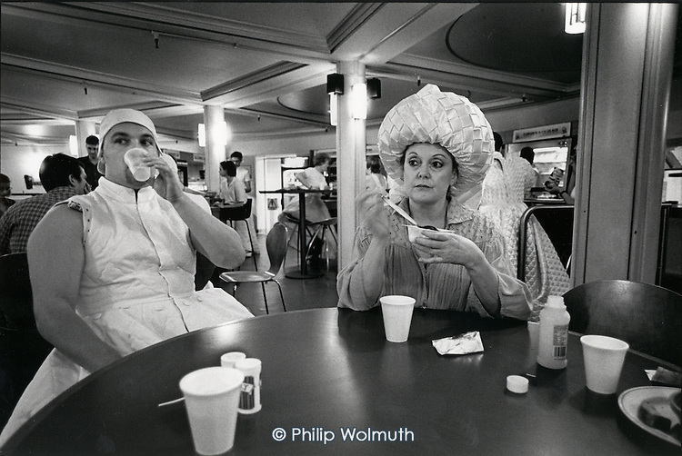Mezzo-soprano Della Jones and other cast members take a tea-break in the Coliseum canteen during the first costume rehearsal for the ENO's world premiere of Gavin Bryars opera Dr.Ox's Experiment.