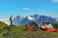 Tent camp in the Chugach National Forest, Kenai Peninsula, Alaska.