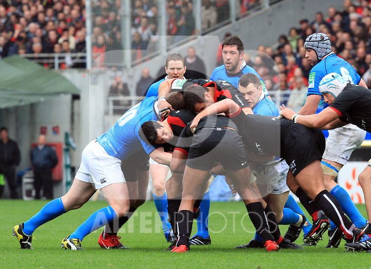 Both sides go in hard during the Heineken Cup semi final match between Stade Toulousain and Leinster at Stade Municipal on May 1, 2010 in Toulouse, France.