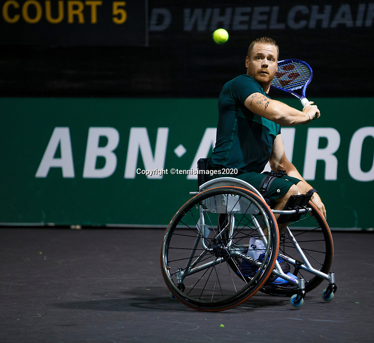 Rotterdam, The Netherlands, 11 Februari 2020, ABNAMRO World Tennis Tournament, Ahoy, <br /> Wheelchair tennis: Maikel Scheffers (NED).<br /> Photo: www.tennisimages.com