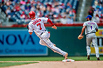 1 August 2018: Washington Nationals shortstop Trea Turner rounds second during a game against the New York Mets at Nationals Park in Washington, DC. The Nationals defeated the Mets 5-3 to sweep the 2-game weekday series. Mandatory Credit: Ed Wolfstein Photo *** RAW (NEF) Image File Available ***