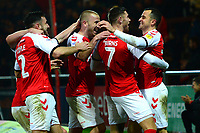 Fleetwood Town's Wes Burns celebrates scoring his side's second goal wit his team-mates<br /> <br /> Photographer Richard Martin-Roberts/CameraSport<br /> <br /> The EFL Sky Bet League One - Fleetwood Town v Coventry City - Tuesday 27th November 2018 - Highbury Stadium - Fleetwood<br /> <br /> World Copyright &not;&copy; 2018 CameraSport. All rights reserved. 43 Linden Ave. Countesthorpe. Leicester. England. LE8 5PG - Tel: +44 (0) 116 277 4147 - admin@camerasport.com - www.camerasport.com