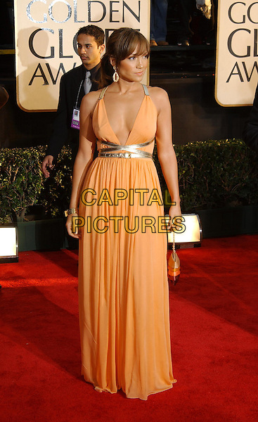 JENNIFER LOPEZ.61st Annual Golden Globe Awards.25 January 2004.full length, full-length, long orange dress, floaty, cleavage, plunging neckline.www.capitalpictures.com.sales@capitalpictures.com.©Capital Pictures.