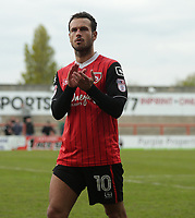 Lee Molyneux of Morecambe thanks the fans for there support over the 2016/17 season at there last home match  during the Sky Bet League 2 match between Morecambe and Wycombe Wanderers at the Globe Arena, Morecambe, England on 29 April 2017. Photo by Stephen Gaunt / PRiME Media Images.