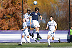 21 October 2012: Penn State's Drew Klingenberg (20) and Northwestern's Grant Wilson (26) challenge for a header. The Northwestern University Wildcats played the Penn State University Nittany Lions at Lakeside Field in Evanston, Illinois in a 2012 NCAA Division I Men's Soccer game. Penn State won the game 1-0 in golden goal overtime.