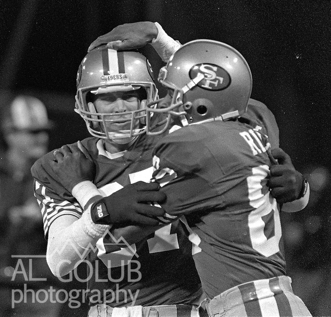 San Francisco 49ers vs Chicago Bears at Candlestick Park Monday, December 14, 1987..49ers Beat Bears 41-0.San Francisco 49ers Wide Receiver Dwight Clark (87) and San Francisco 49ers Wide Receiver Jerry Rice (80) ...