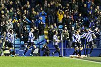 Morgan Fox of Sheffield Wednesday (2nd R) celebrates his goal with team mates during the Sky Bet Championship match between Sheffield Wednesday and Swansea City at Hillsborough Stadium, Sheffield, England, UK. Saturday 09 November 2019
