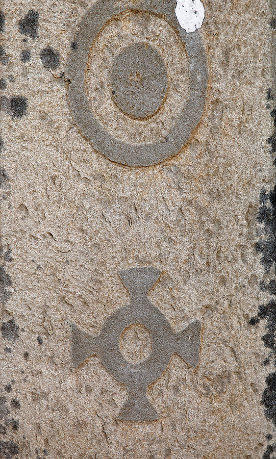 Close-up of Celtic symbols on grave marker in ruins of Killonaghan Church, Fenore Beg, County Clare, Republic of Ireland