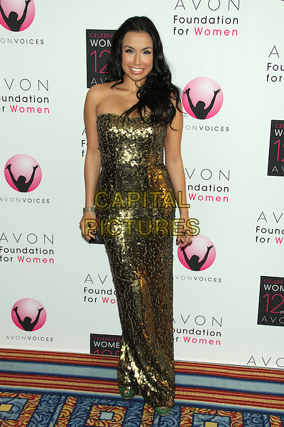 Maia Brewton.Avon Foundation for Women's Global Voices for Change Awards Gala at the Marriot Marquis Times Square, Neww York, USA.. 2nd November 2011.full length gold one shoulder dress sequins sequined .CAP/LNC/TOM.©LNC/Capital Pictures.