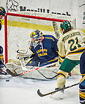 29 December 2013:  Canisius College Golden Griffins goaltender Adam Harris, a Sophomore from Penticton, British Columbia, makes a third prior save against University of Vermont Catamount Forward Mario Puskarich, a Freshman from Fort Walton Beach, FL, at Gutterson Fieldhouse in Burlington, Vermont. The Catamounts defeated the Golden Griffins 6-2 in the 2013 Sheraton/TD Bank Catamount Cup NCAA Hockey Tournament. Mandatory Credit: Ed Wolfstein Photo *** RAW (NEF) Image File Available ***