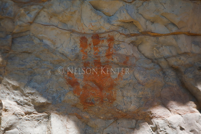 One of many Indian Pictographs on a canyon wall along the Smith River in Montana