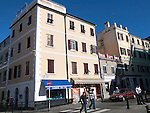 Shops and cafes in Convent Place, Gibraltar, British terroritory in southern Europe