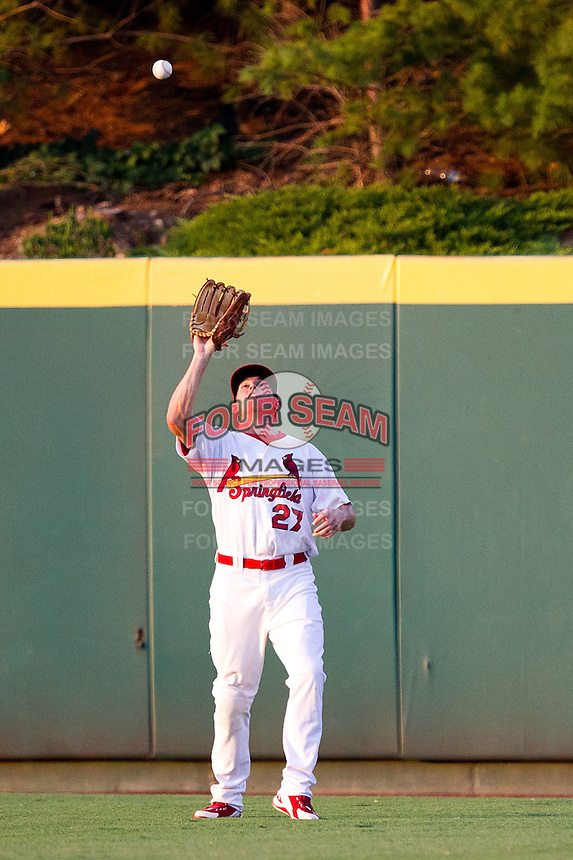James Rapoport (27) of the Springfield Cardinals catches a ball in center field during a game against the Northwest Arkansas Naturals at Hammons Field on August 1, 2011 in Springfield, Missouri. Springfield defeated Northwest Arkansas 7-1. (David Welker / Four Seam Images)
