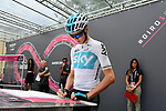 Chris Froome (GBR) Team Sky at sign on before the start of Stage 17 of the 2018 Giro d'Italia, The Franciacorta Stage running 155km from Riva del Garda to Iseo, Italy. 23rd May 2018.<br /> Picture: LaPresse/Gian Mattia D'Alberto | Cyclefile<br /> <br /> <br /> All photos usage must carry mandatory copyright credit (&copy; Cyclefile | LaPresse/Gian Mattia D'Alberto)