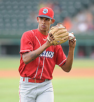 Pitcher Ervis Manzanillo (26) of the Lakewood BlueClaws, Class A affiliate of the Philadelphia Phillies, in a game against the Greenville Drive on July 13, 2011, at Fluor Field at the West End in Greenville, South Carolina. (Tom Priddy/Four Seam Images)