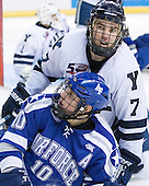 Paul Weisgarber (Air Force - 10), Mike Matczak (Yale - 7) - The Yale University Bulldogs defeated the Air Force Academy Falcons 2-1 (OT) in their East Regional Semi-Final matchup on Friday, March 25, 2011, at Webster Bank Arena at Harbor Yard in Bridgeport, Connecticut.