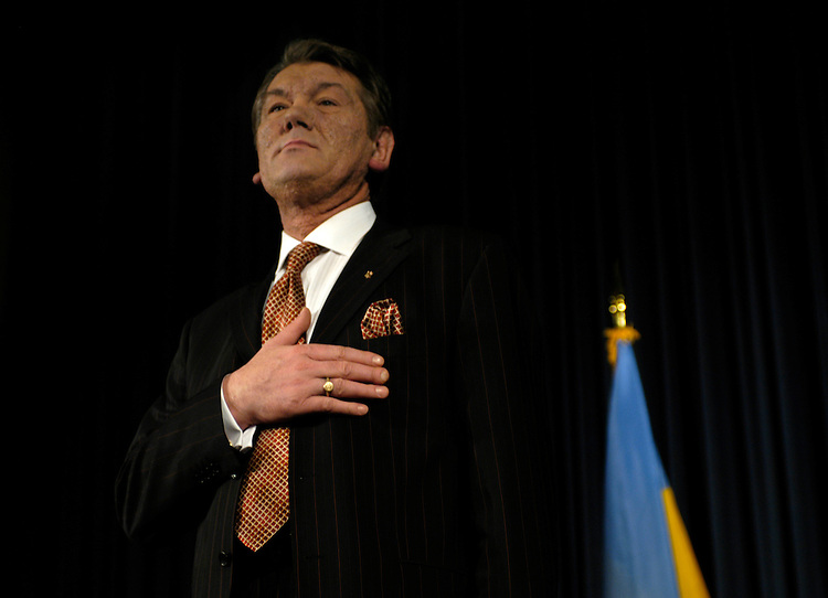 Ukrainian Prime Minister Viktor Yushchenko spoke today at the U.S. Chamber of Commerce after appearing at the White House. On Wednesday, he will speak to a joint session of Congress.