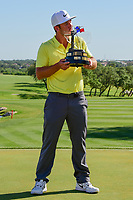 Kevin Chappell (USA) kisses the trophy for winning the 2017  Valero Texas Open, AT&amp;T Oaks Course, TPC San Antonio, San Antonio, Texas, USA. 4/23/2017.<br /> Picture: Golffile | Ken Murray<br /> <br /> <br /> All photo usage must carry mandatory copyright credit (&copy; Golffile | Ken Murray)